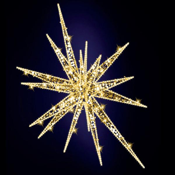 Weihnachtsstern Feona 140, H140, B120, L120cm, warmweiss, 3D, Glitter, Seilmontage