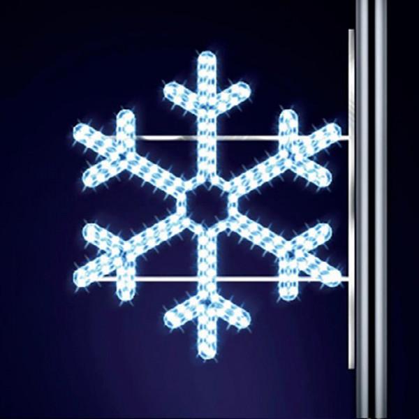 Schneeflocke Mini 70, H70, B80cm, kaltweiss, Strassenlichter, Kandelabermontage