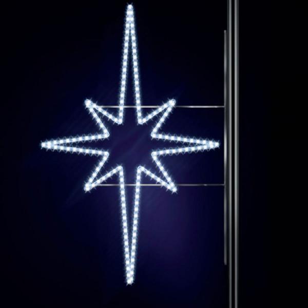 Leuchtstern Pakri 130, H130, B95cm, kaltweiss, Kandelaberbeleuchtung, Pfostenmontage