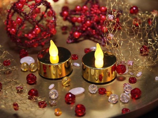 T-Licht LED, Teelicht metallic gold, 2 Kerzen mit Batterien