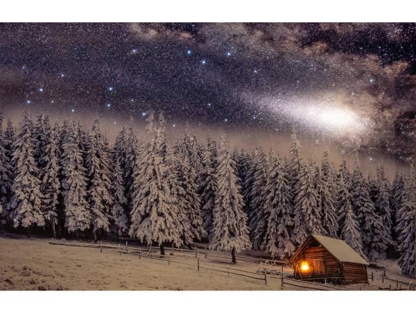Leuchtbild LED Leinwand Winterlandschaft Tannen mit Schnee Blockhaus 58x58cm