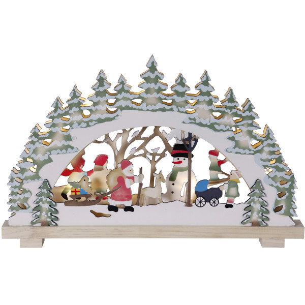 Fensterleuchter LED Deutsche Weihnacht Santa in Forest