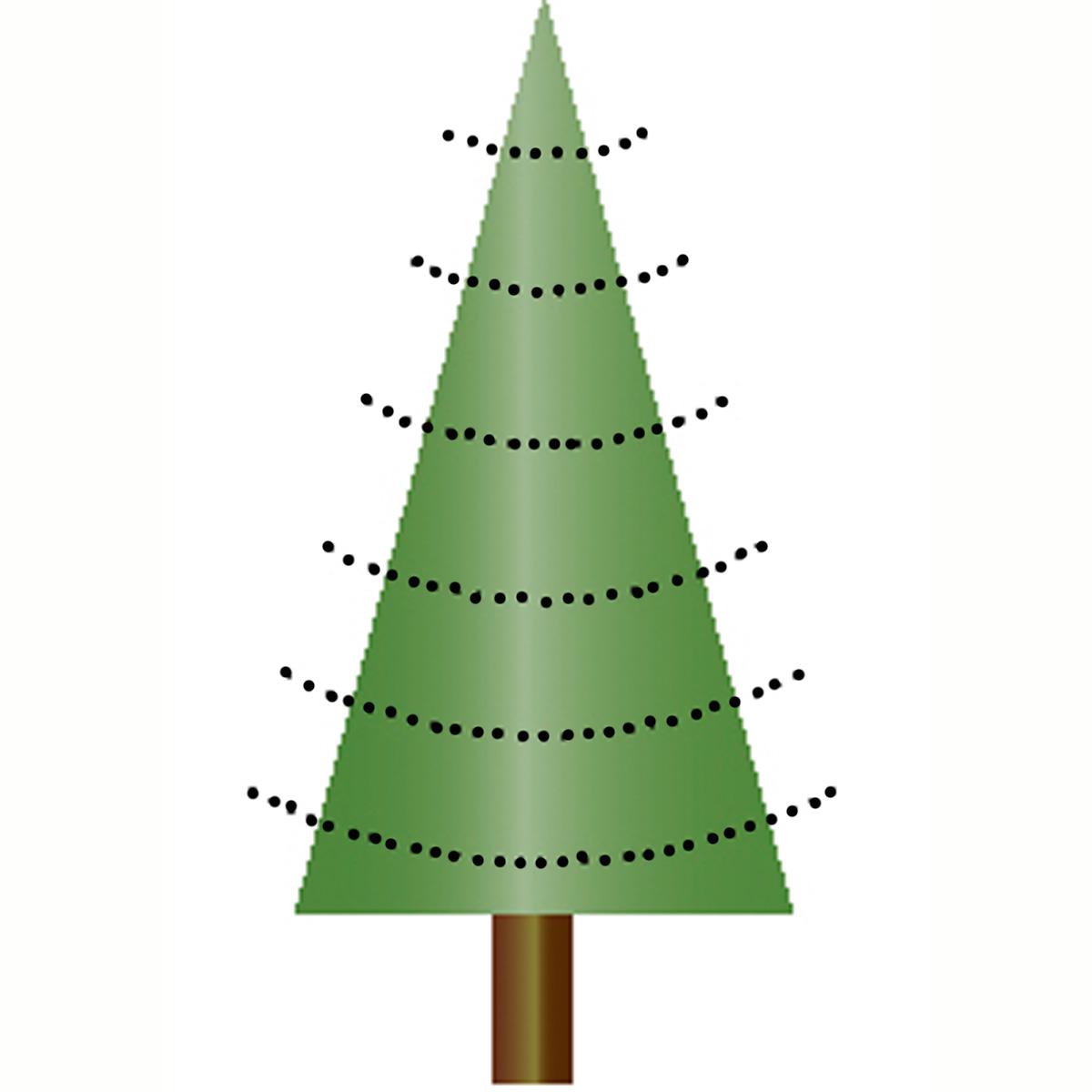 Tannenbaum Aeste rund nach oben gebogen