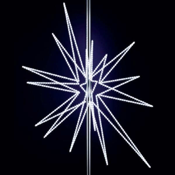 Stern Feona 200, H200, B150, L150cm, kaltweiss, 3D, 6-teilig, Kandelaberbeleuchtung, Pfostenmontage