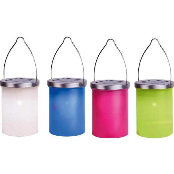 Solarlaternen Set mit 3 weiss, 1 grün, 1 blau, 1 pink LED