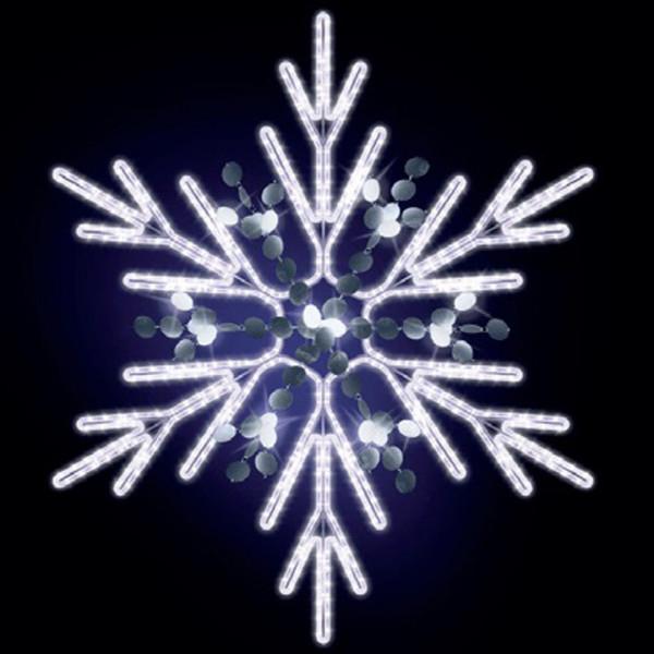 Schneeflocke Chelsy 125, H125, B115cm, kaltweiss, mit Glitter, Kandelabermontage