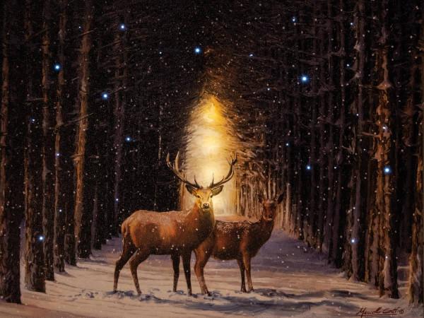 Weihnachtsdekoration Leuchtbild LED Leinwand Rentiere Wald Wildtiere 38x48cm