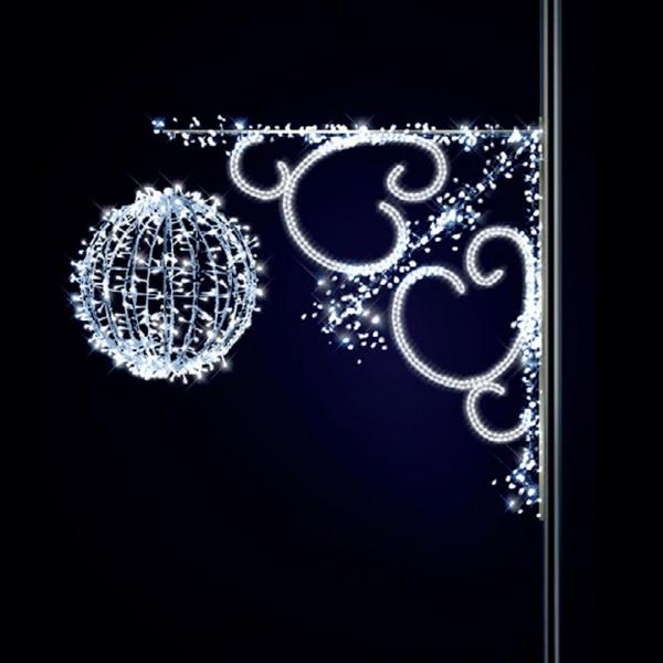 Leuchtkugel Crystal 150, H140, B150, L60cm, kaltweiss, 3D, Montage an Pfosten