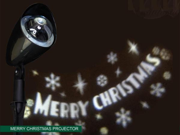 Projektor mit bewegender Schrift Merry Christmas