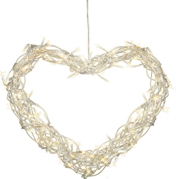Kranz herzförmig Curly 30 x 35 cm, 80 LED warmweiss