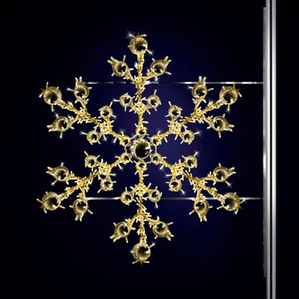 Schneeflocke Nevis 150, H150, B170cm, warmweiss, Strassenbeleuchtung, Pfostenmontage