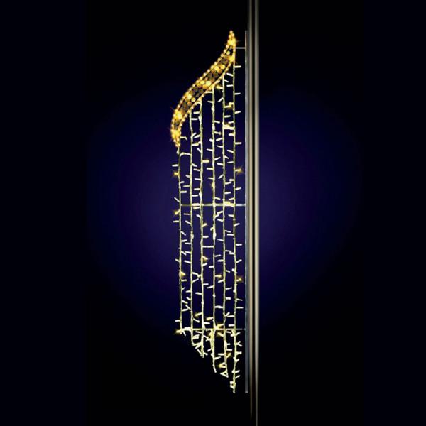 Strasenpfostenlicht Cannes 225, H225, B60cm, warmweiss, Glitter, Pfostenmontage