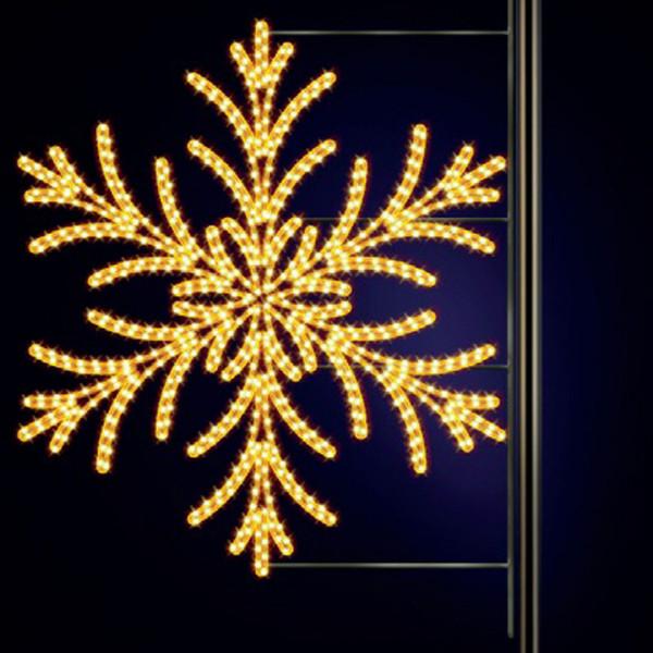 Schneeflocke Yul 150, H150, B145cm, warmweiss, Kandelaberbeleuchtung, Laternenmontage