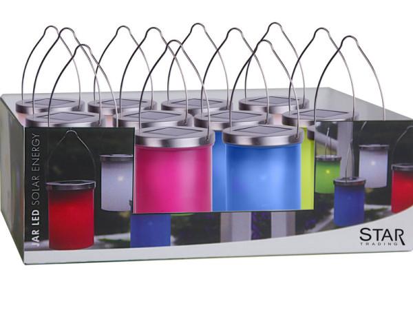 Solarlaternen Set mit 3 weiss, 1 grün, 1 blau, 1 pink warmweisses LED Licht