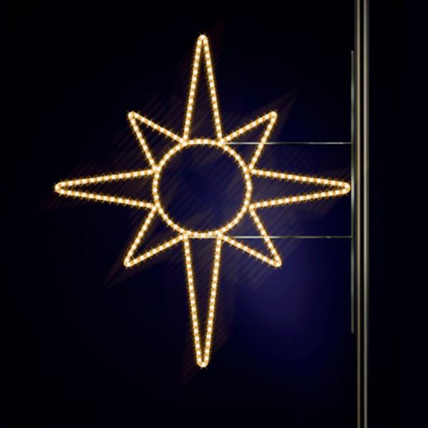 Leuchtstern North Star 130, H130, B125cm, warmweiss, Kandelaberbeleuchtung, Pfostenmontage
