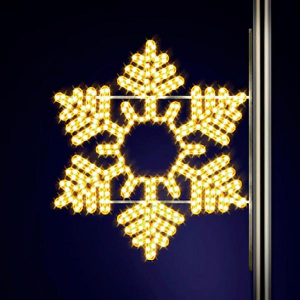 Schneeflocke Snowflake 90, H90, B100cm, warmweiss, Strassenlampen, Kandelabermontage