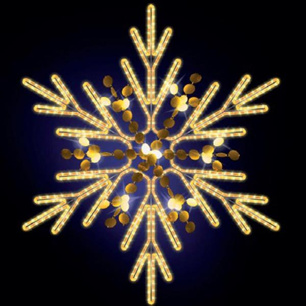 Schneeflocke Chelsy 125, H125, B110cm, warmweiss, mit Glitter, Wandmontage