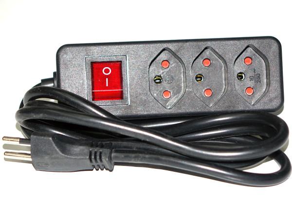 Steckdosenleiste, 3 x T13, Verlängerungskabel 1,5 m, Schalter, schwarz
