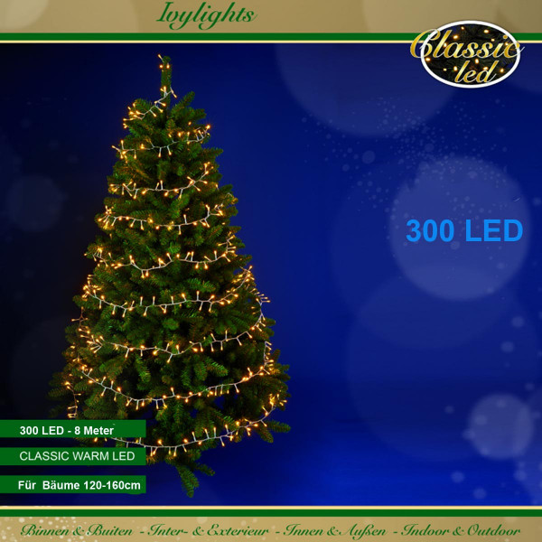 Ivy-Lichterkette, Kabel transparent, für Bäume, 300 LED warmweiss, 8 m lang