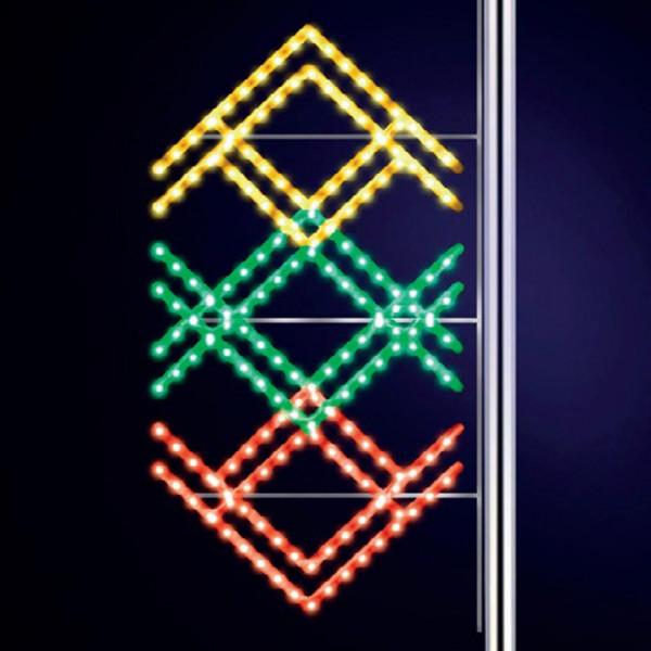 Strassenweihnachtsdekoration Ethnic 175, H175, B80cm, gelb, grün, rot kombiniert, Pfostenmontage