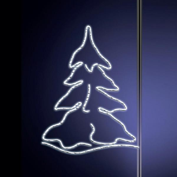 Leuchtsilhouette Karelia 155, H155, B130cm, kaltweiss, Pfostenmontage