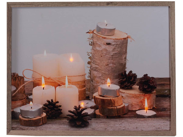 Leuchtbild LED Leinwand Leuchtende Kerzen 38x48cm