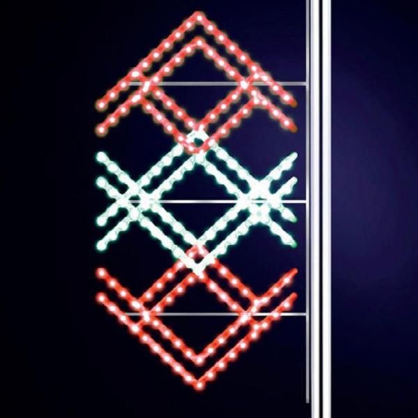 Strassenweihnachtsdekoration Ethnic 175, H175, B80cm, kaltweiss, rot kombiniert, Pfostenmontage