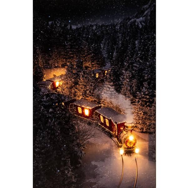 Leuchtbild LED Leinwand Weihnachtszug Leuchtzug 38x58cm