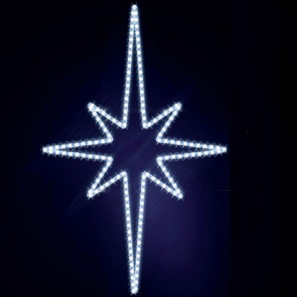 Leuchtstern Pakri 130, H130, B85cm, kaltweiss, Wandmontage
