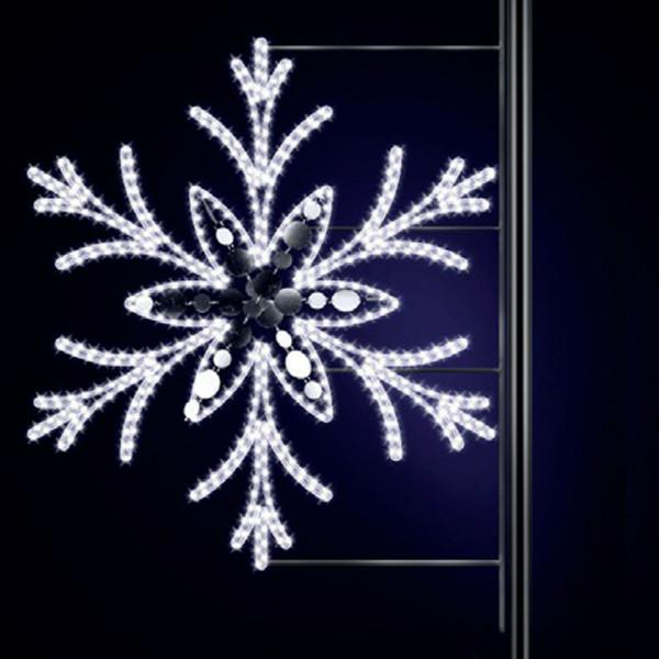 Schneeflocke Jessy 125, H125, B120cm, kaltweiss, mit Glitter, Pfostenmontage