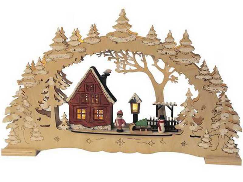 Holzschnitzerei, Deutsche Weihnacht mit beleuchteten Figuren