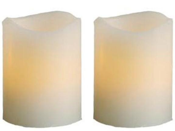 Wachs-Kerzen Set mit 4 LED Kerzen, mit geformten Rand, Batteriebetrieb