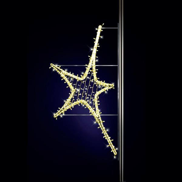 Leuchtstern Aries 180, H150, B80cm, warmweiss, Strassenlichter, Pfostenmontage