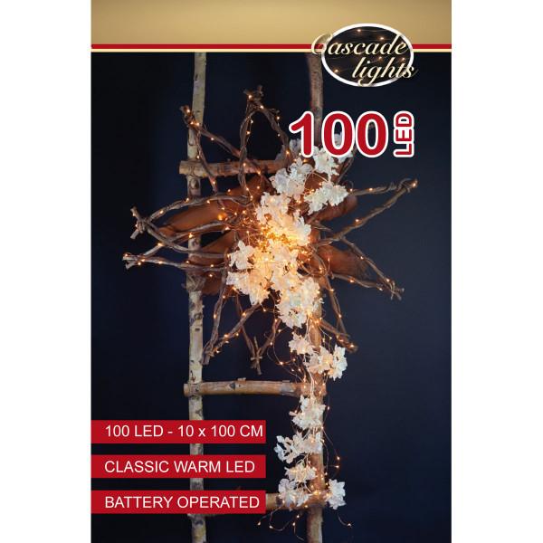 Drahtlichterkette kupferfarbig, 10 Stränge à 100 cm, 100 LED warmweiss, Indoor