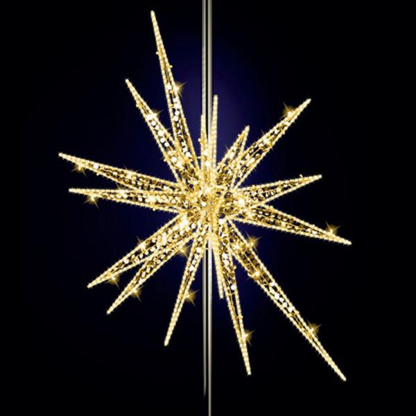 Stern Feona 220, H200, B150, L150cm, warmweiss, mit Glitter, 3D, 6-teilig, Pfostenmontage