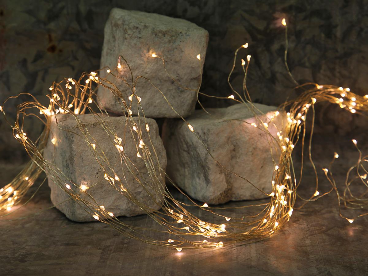 Engelshaar Draht-Lichterketten, LED, silber- oder kupferfarbig