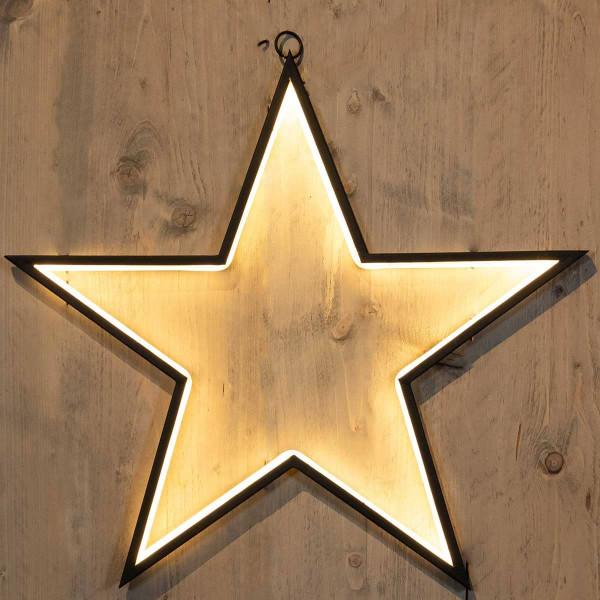 Weihnachtsstern Stern schwarzer Rand LED leuchten nach innen 55x52cm