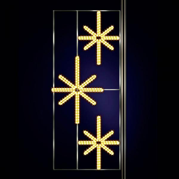 Leuchtstern Krettinga 310, H300, B120cm, warmweiss, Strassenlichter, Pfostenmontage