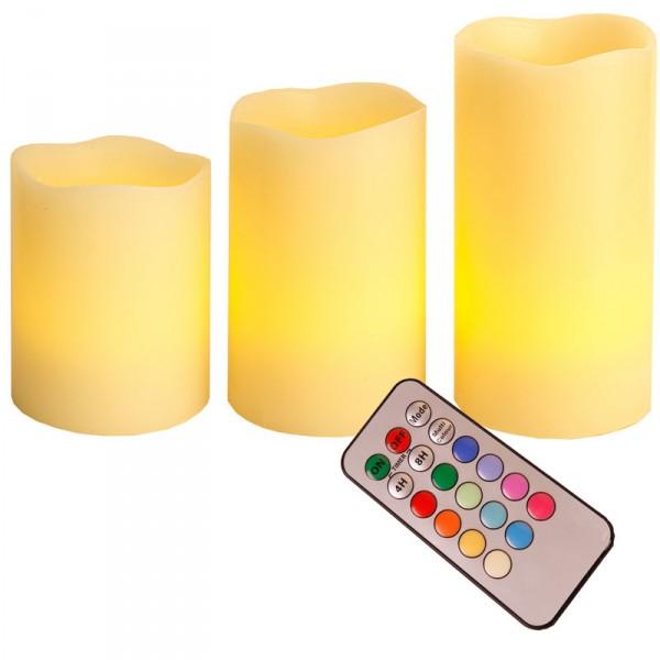 Weihnachtsbeleuchtung Mit Timer.Wachskerzenset Mit 3 Kerzen Led Fernbedienung Timer 12 Wählbare Farben