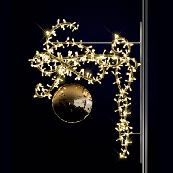 Weihnachtskugel Aimee 100, H100, B80, L30cm, warmweiss, 3D, Kugel gold, Kandelaberbeleuchtung