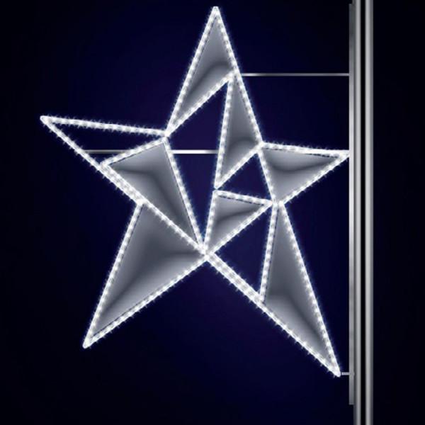 Leuchtstern Phil 120, H120, B110cm, kaltweiss, Strassenbeleuchtung, Montage an Pfosten