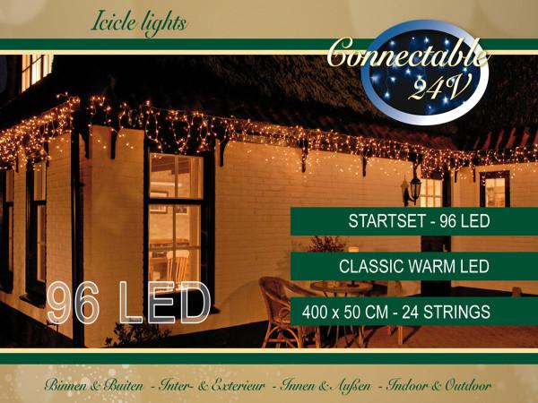 Lichterkette Icicle, 96 LED warmweiss, 400cm, ausbaubar, Start