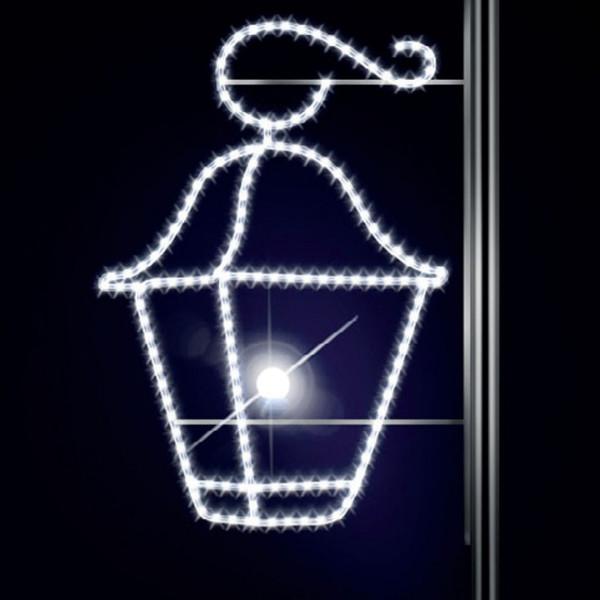 Leuchtlaterne Latern 115, H115, B85cm, kaltweiss, Kandelabermontage