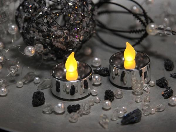 T-Licht LED, Teelicht metallic silber, 2 Kerzen mit Batterien