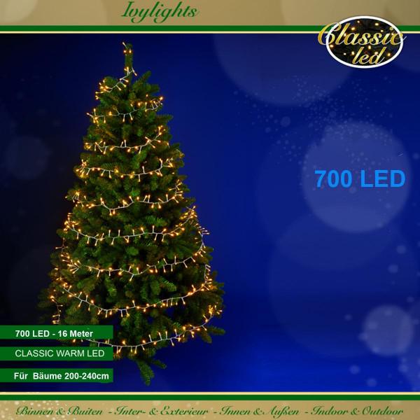 Ivy-Lichterkette, Kabel transparent, für Bäume, 700 LED warmweiss, 16 m lang
