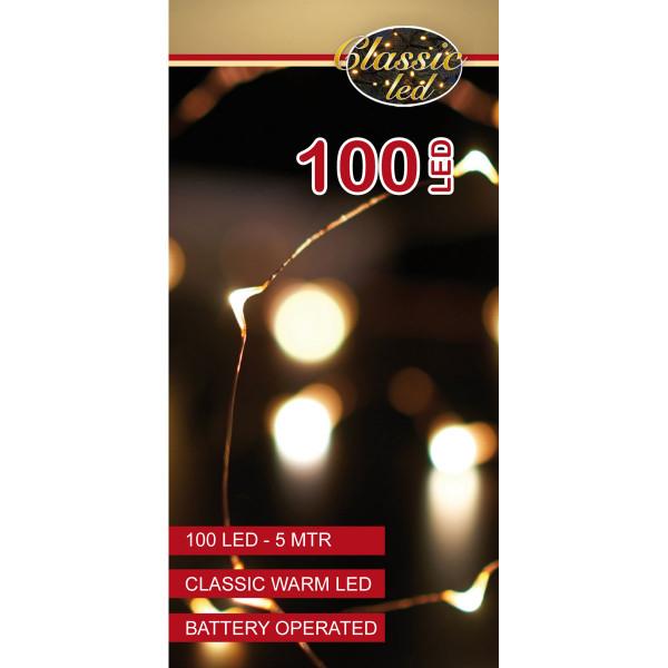 Drahtlichterkette kupferfarbig, 1 Strang 500 cm, 100 LED warmweiss, Indoor