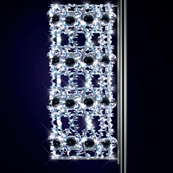 Kandelaberbeleuchtung Lara 160, H160, B60, L60cm, kaltweiss, 3D, leicht blinkend, Pfostenmontage