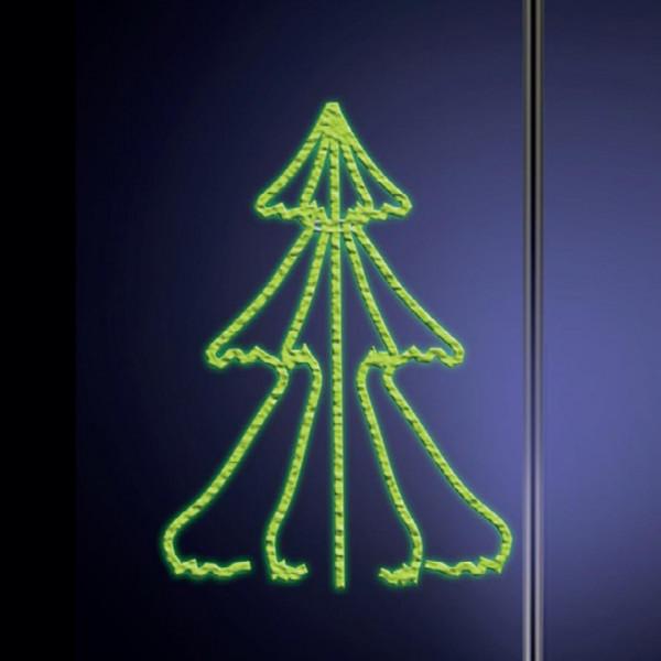 Leuchtsilhouette 3D Fir 150, H150, B90cm, grün, Pfostenmontage