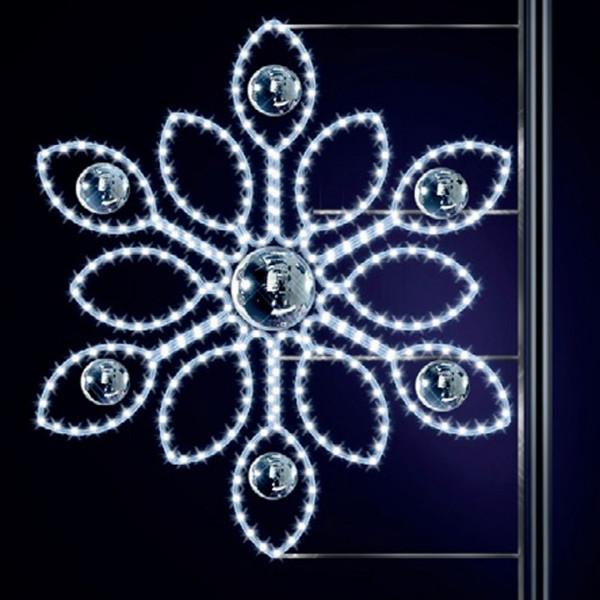 Schneeflocke Bora 125, H125, B115cm, kaltweiss, Strassenlichter, Laternenmontage