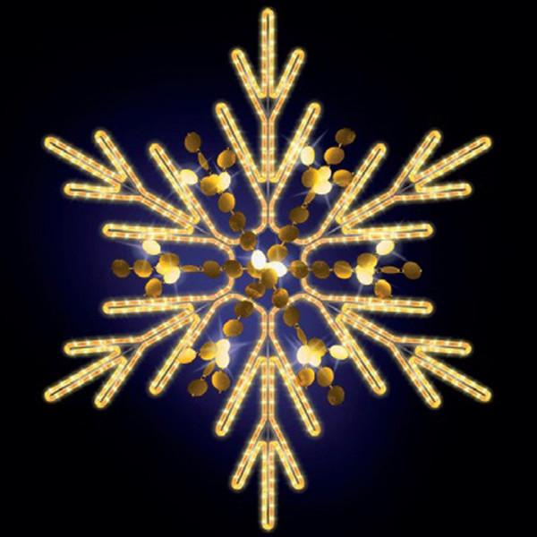 Schneeflocke Chelsy 125, H125, B115cm, warmweiss, mit Glitter, Kandelabermontage